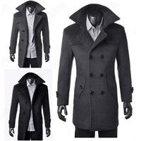 Fashion  Slim winter Men Wool Long Coat Winter Outerwear Warm  Busniess Double-breasted Overcoat Wholesales Spring