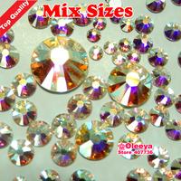 Mix Sizes ! Top Quality Crystal Clear AB  1080pcs/bag Flatback Hot Fix Rhinestone,More Shiny,More Brigst hotfix stones