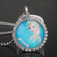 Fashion Frozen Ball Chain Necklace Frozen Princess Elsa Pendant Flatback Rhinestone Cabochon Charm Necklace  Dress Accessories