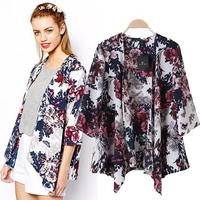 2014 summer new high-quality European and American style Hot Ink flower print ladies cardigan kimono coat tide sjc137