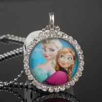 Fashion Frozen Ball Chain Necklace Frozen Princess Pendant Flatback Rhinestone Cabochon Charm Necklace Summer  Dress Accessories