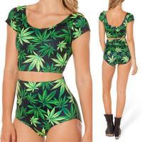 2014 New Summer Women Green Leaf marijuana cannabis print Cropped Shirt Swimwear Two Pieces Set Swimsuit