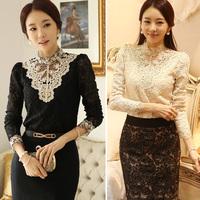 New 2014 Autumn Women Crochet Blouse Lace Chiffon Shirt Women Clothing Basic Shirt Vintage Blusas Femininas Blouses Shirts XXL!