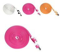 Newest V8 Micro Colorful Noodle Flat Data Sync USB Charging Cable for Samsung S3 S4 HTC Blackberry LG more Cell phone