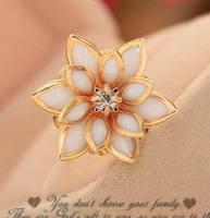 Super Charming Gilt Edges Women Snow Lotus Ring Large And Big Flower Ring For Girl  SR020