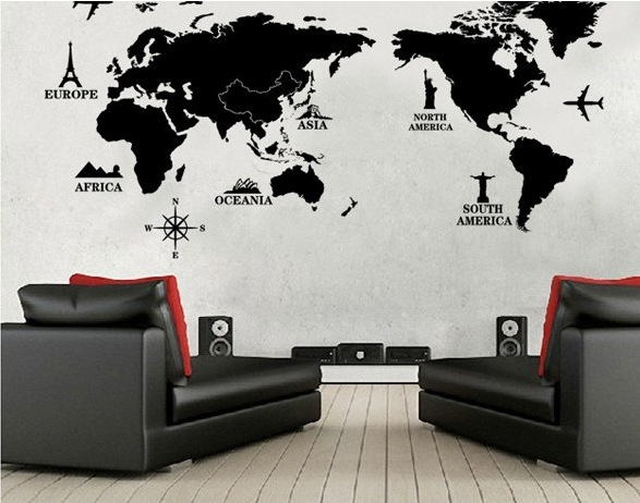 Free shipping Travel World Map removable decals Art Home Decoration TV backdrop Wallpaper W