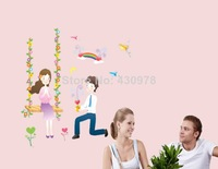 01316 Free Shipping 3Pcs makeing a proposal Swing Flower Young Couple Heart Love love DIY Wall Stickers Home Decoration