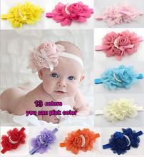 2014 nueva llegada lindo pelo del bebé Accesorios Perla Rosa Flor Headwear elástico venda del pelo de la venda 13 colores(China (Mainland))