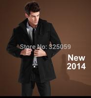 Men's pea  Thick  Coat Outdoor Warm Parka Woolen Coat Winter Fur Jacket Outerwear Slimming Man