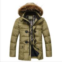 2014 Brand Down Jacket Winter Jacket Men Coat 90% White Duck Long Thicken Outwear Hooded Real Fur Men's Parka Plus Size 5 Size