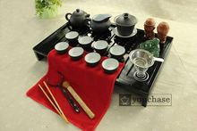 solid wood tea tray + famous YiXing kung fu tea set + funny Buddha tea figure, low price tea board