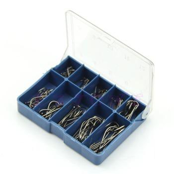 Бесплатная доставка Новый 10 Смешанная Различные размеры Металл Сильный Sharp Коробка рыболовных крючков 70шт