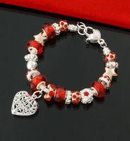 2014 New Fashion Women Jewelry Ruby Red Heart & Star Charm Bracelets Wholesale European Handmade DIY Crystal Glass Bead 2675