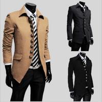 Fashion Men Slim Warm Trench Casual Jacket Coat Gentleman Jackets Woolen France Single Palace Button England Stylish Outwear
