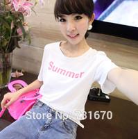 Thin Wild Korean Summer Short-sleeved T-shirt Letter T-shirt Women Tops TX008