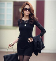 Hot Special Offer Women Fashion Ladies Sexy Cotton Casual Lace Dress Sexy Dresses New 2014 Autumn Spring One-Piece Dress