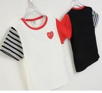 2014 summer new arrival fashion wholesale 5pcs/lot 100%Cotton top tee cartoon play eyes striped children kids girls boy t shirts