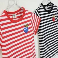 2014 summer new arrival fashion play eyes striped wholesale 5pcs/lot 100%Cotton top tee cartoon children kids girls boy t shirts