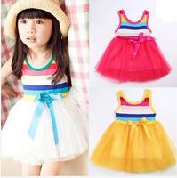 HB03 Hot!! Promotion!!! 2014 new summer baby dress&girl tutu rainbow cute sleeveless/white,yellow,rose red,light blue,Angel Baby