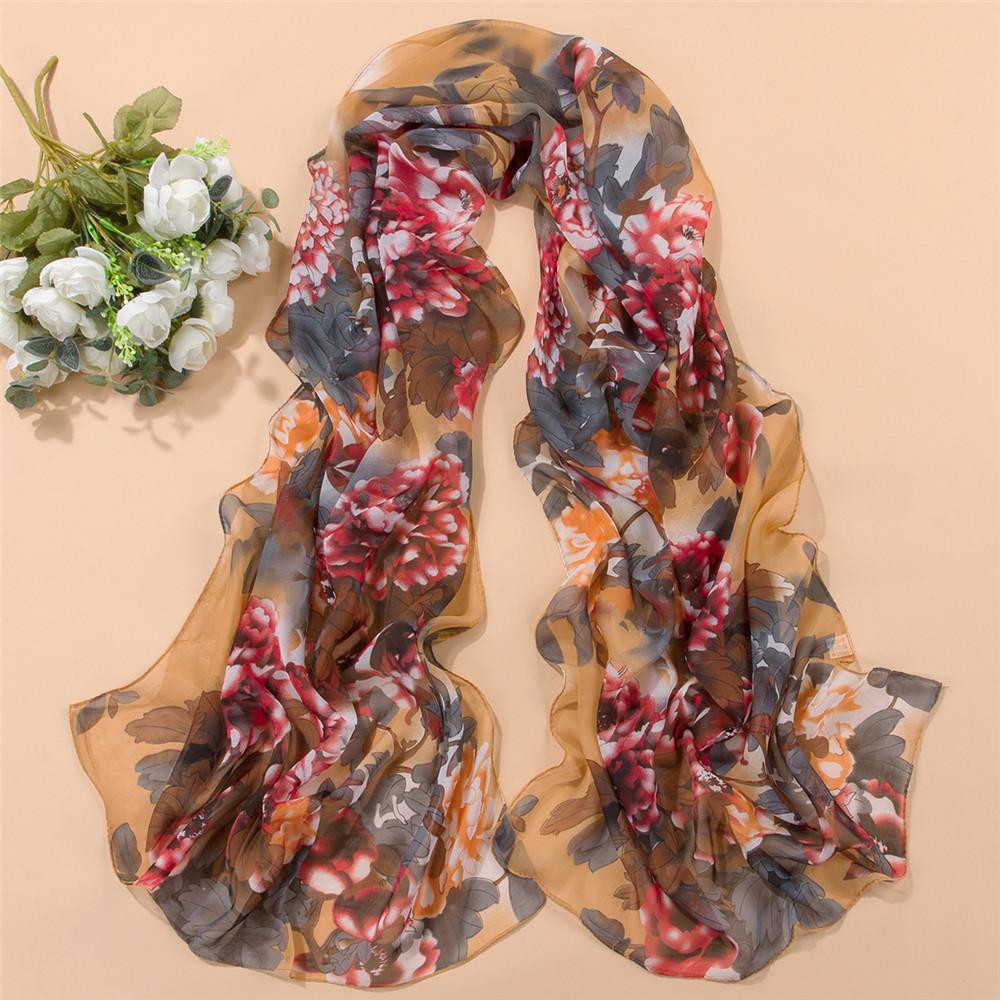 Free Shipping !!!Women High Quality Novelty Fashion Style Soft Chiffon Print Flower Scarf Wrap Female Winter Autumn Silk Shawl(China (Mainland))