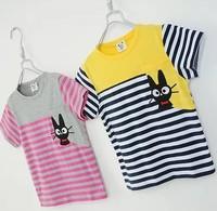 2014 summer new arrival fashion wholesale 5pcs/lot 100% Cotton top tee cartoon striped cat children kids girls boy t shirts