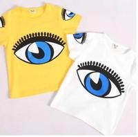 2014 summer new arrival fashion wholesale 5pcs/lot 100% Cotton big eyes cartoon top tee children kids girls boy t shirts