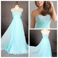 QU006 Newly Arrival A-Line Sweetheart Beaded Sweetheart Empire Floor-Length Long Chiffon Prom Dress,Prom Dress 2014 New