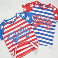 2014 summer new arrival fashion stars striped letter wholesale 5pcs/lot 100% Cotton top tee children kids girls boy t shirts