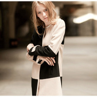 2014 autumn new European style hit color stitching partial checkered woolen coat windbreaker jacket placket armband 2E153