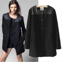 2014Autumn winter jackets women coat women's big woolen coat long section temperament luxury single-breasted wool coat 2E157