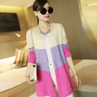 2014 Autumn winter jackets women new hollow sweater air conditioning shirt hit the color shade shirt Outerwear 2E154
