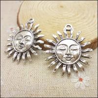 40 pcs Charms Sun Pendant  Tibetan silver  Zinc Alloy Fit Bracelet Necklace DIY Metal Jewelry Findings