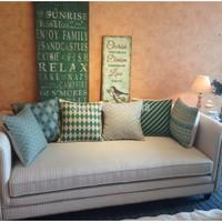 Green geometry stripe polka dot 45 core pillow cover auto fluid fabric cushion cover sofa