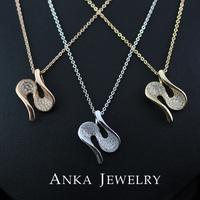 New Lady's Elegant Copper Pendant Necklace CZ Stone Women