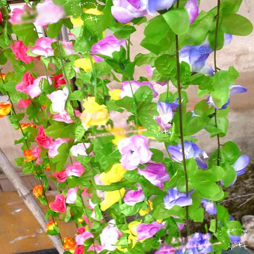 Wholesale 1pc Beautiful Wedding Home Wall Garden Artificial Rose Leaf Silk Flower Rattan Vines Decor(China (Mainland))