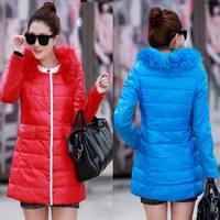 New 2014 jacket winter coat thicken Slim female raccoon fur collar and long coat women parka winter coat plus size L,XL,XXL 1301