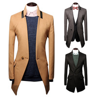 2014 autumn and winter one button three-dimensional cut casual medium-long men outerwear men overcoat