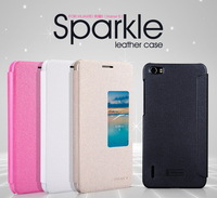 For Huawei Honor 6 Nillkin Sparkle Series Smart Sleep And Wake Function Windows Flip Cover Protective Leather Case Free Shipping