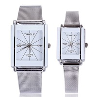 White couple lovers wristwatch for men women luxury brand quartz rectangle alloy analog wholesale high quality free shipping