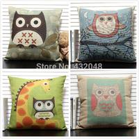 Patchwork owl cartoon pillow office cushion lumbar support kaozhen fluid