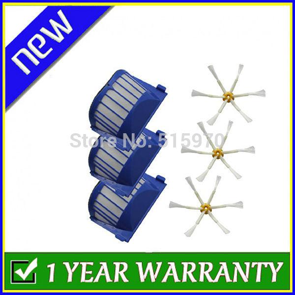 3 x Aero Vac Filter & 3 x Side Brush 6-Armed for iRobot Roomba 500 600 Series 536 550 551 552 564 620 630 Vacuum Cleaning Robots(China (Mainland))