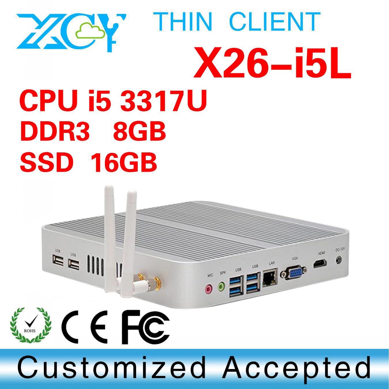 Convient! High performance Intel 3317U dual core itx computer, Multimedia Mini Client, XCY X26-i5L zero net desktop computer(China (Mainland))