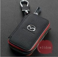 1 Black Leather Car Remote Key Case Fob Zipper Key Bag Holder For Mazda
