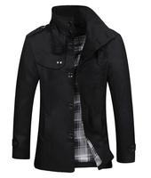 2014 new men wool coat winter British teenagers woolen jacket coat ,skinny men's coat,free shipping