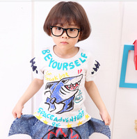 2014  Boys Cotton  Shark Cartoon Tee Age 1-5 Years 5pcs Wholesale Letter Printed T Short Sleeve top boy