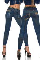 QWE New Women Sexy Tattoo Jean Look Legging Sport Leggins Punk Fitness American Apparel Jeans Woman Pants 9053