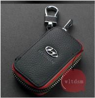 1 Black Leather Car Remote Key Case Fob Zipper Key Bag Holder For Hyundai