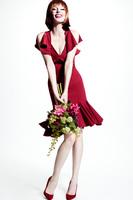 Elegant lotus  fishtail dress with charming mermaid sexy crimson Slim short dress dating party dress elegant sexy lady