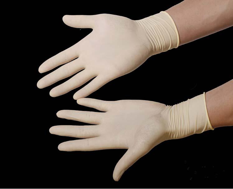 New 100pcs/50 pairs disposable latex gloves powder free gloves Medium and large(China (Mainland))