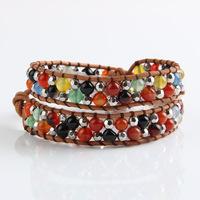 New Arrival Fashion Semi-precious Gemstone Agate Leather Double Beaded Wrap Bracelets PCLB-B001